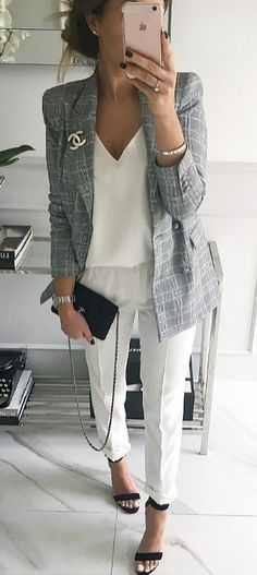 summer outfits Grey Blazer + White Top + White Pants