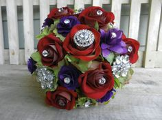 Brooch Wedding Bouquet / Purple & Red by ZuDunsFlowersnGifts, $185.00