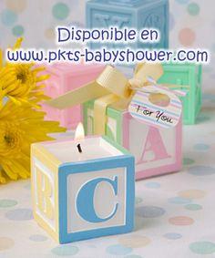 Recuerdos para Baby Shower - Vela Blocks ABC de Colores- Disponible en www.pkts-babyshower.com