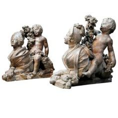 Pair of terracotta sphinxes - one signed Chinard on the plinth