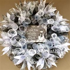 "24"", 'Love you to the Northpole and back' Winter Spiral Mesh Wreath, $65"