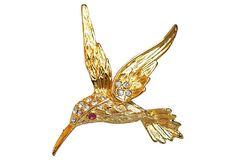One Kings Lane - Hummingbird Brooch w/ Ruby & Rhinestones