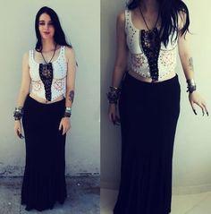 Get this look: http://lb.nu/look/5798323  More looks by Rokaia MAB: http://lb.nu/rokaiamab  Items in this look:  Diy Rokaia Mab Pentagram Studded Top, Garota Bacana Skirt   #rokaia #pentagram #studded #skirt