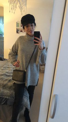 Cosy winter jumper, with faux leather pants, paired with a baker boy hat and a over the shoulder bag. Winter Jumpers, Cosy Winter, Over The Shoulder Bags, Baker Boy, Faux Leather Pants, Winter Outfits, Pairs, Boys, Life