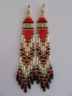 Seed Bead Native American Style Earrings  FREE by pattimacs