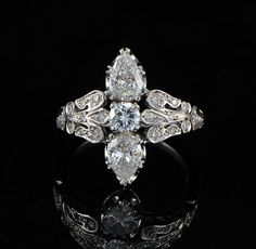 Extremely fine Art Deco 1.95Ct Diamond trilogy ring