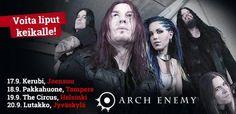 Lippuja jaossa Arch Enemyn Suomen keikoille! Osallistu kisaan täällä: http://www.emp.fi/com_2242_participate/?campaign=emp/fi/sm/pin/promotion/desk/13082014_arch-enemy-kisa