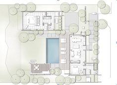 2 bedroom Villa Floor Plan Tiny House Layout, House Layouts, Hotel Architecture, School Architecture, Villa Plan, Plan Drawing, Starter Home, Resort Villa, Apartment Plans