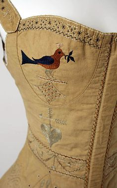 Corset - Metropolitan Museum of Art Date: 1820–39 Culture: American Medium: Cotton, silk Dimensions: Length at CB: 16 in. (40.6 cm)