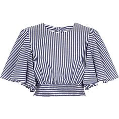Blue stripe print frill sleeve crop top £ - My CMS Blue Crop Tops, Striped Crop Top, Stripe Top, Cropped Tops, Blue Stripes, Stylish Outfits, Cute Outfits, Vetement Fashion, Girl Outfits