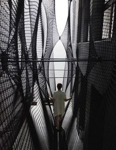 An experimental staircase made from a suspended rope net | Architecture And Design