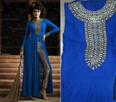 Blue Color Front Open Straight Suit with Trouser by Shoppingover #salwarkameez