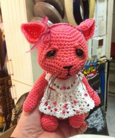 CHATOUNETTE crochet cat with heart :: SLM Arts