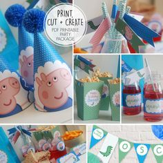 Printable Personalised PEPPA Pig GEORGE Pig Birthday Party Package * Hats * Banner * Boxes * Flags * Labels * Stickers *