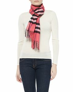 Giant-Check Cashmere Scarf, Rose by Burberry at Neiman Marcus.