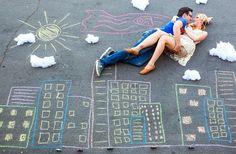 Superman chalk drawing engagement photos!