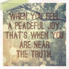 When you feel a peaceful joy,that's when you know you are near the truth..Rumi ❤