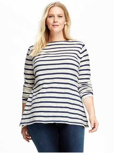 Classic Plus-Size Boatneck Tee: Stripes are always in style!