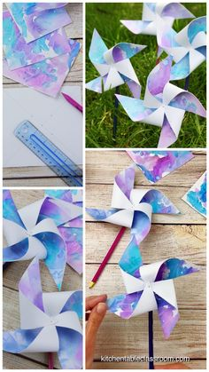 How to Make Pinwheels-with Free Printable Template - The Kitchen Table Classroom Learn how to make pinwheels with these easy paper pinwheel templates. Upcycle your kid's artwork, use scrapbook paper, or draw your own paper pinwheels! Easy Crafts For Kids, Summer Crafts, Creative Crafts, Diy For Kids, Summer Diy, How To Make Crafts, Toddler Crafts, Creative Ideas For Kids, Crafts For Girls