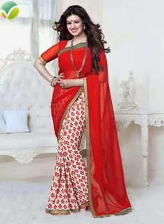 USD 28.70 Ayesha Takia Red Georgette Party Wear Saree 49654