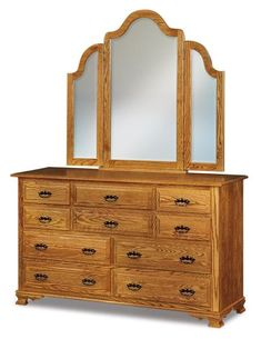 Amish Hoosier Heritage Ten Drawer Dresser with Optional Mirror Enjoy ample storage solid wood quality and easygoing country style. You select the wood type finish and options you like best. Dresser Drawers, Dressers, Country Style Furniture, Quarter Sawn White Oak, Hickory Wood, Bedroom Storage, Wood Construction, Furniture Collection, Deco