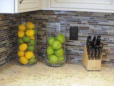 Kitchen backsplash design.. and I like the fruit holder idea : )