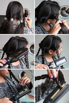 curls-from-braids-and-straightener-flat-iron
