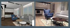 3D interior vizualisation and finished interior. Straight lines + soft fabrics