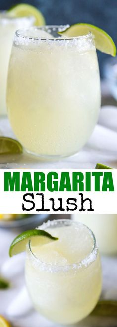 It only takes 4 ingredients to make this easy Margarita Slush! Great for backyard barbecues, pool parties, and summer nights! via @culinaryhill #summercocktails