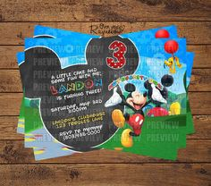 Mickey Mouse Invitation Mickey Mouse Clubhouse Invitations, Custom Birthday Invitations, Little Cakes, Some Fun, All Design, Rsvp, Handmade Gifts, Etsy, Personalized Birthday Invitations