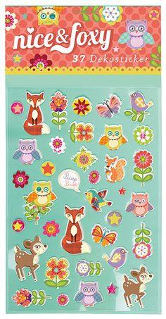 Süße Sticker Fuchs aus der Nice und Foxy gibt es bei www.party-princess.de. Die Sticker sind eine tolle Geschenkidee auf einem Kindergeburtstag für die Gäste. Man kann sie auch super für ein Freundesbuch verwenden.