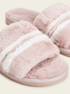 Shop Striped Faux Fur Slippers at ROMWE, discover more fashion styles online. Womens Slippers, Ladies Slippers, Striped Slippers, Fur Sliders, Cool Names, Casual Boots, Romwe, Faux Fur, Pink