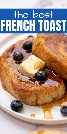 This is the best recipe for traditional French Toast! Made with thick slices of bread soaked in a sweet egg custard and then pan fried to perfection. This French Toast Recipe is easy to make, yet delivers restaurant-worthy results. Slice Of Bread, Custard, Best French Toast, Fries, Good Food, Kitchen Recipes, Cooking Recipes, American Breakfast, Egg