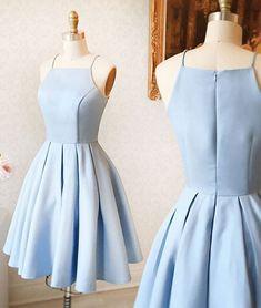 A-Line Halter Light Blue Short Homecoming Dress by DRESS, $132.00 USD