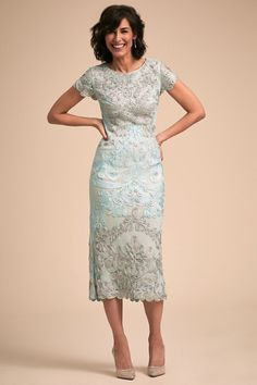 f7441df9718 Tea length lace mother of the bride dress with sleeves - Santiago Dress  from BHLDN - -