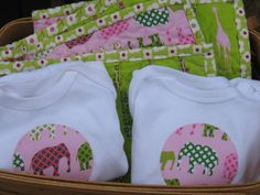 3 Piece Baby Gift Set Quilt and 2 Onesies by ModernMaterialGirl, $49.00