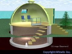 Geodome, it is possible to make shelter room on basement level. This is actually safe specially for the countries have tornado or strong storms.