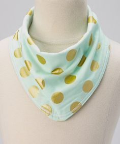 Look at this #zulilyfind! luna and bean Mint & Gold Zigzag & Polka Dot Reversible Drool Bandanna by luna and bean #zulilyfinds