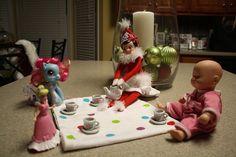 Having a tea party.