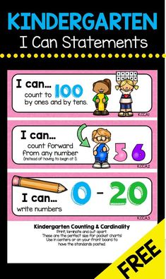 Kindergarten Standards - I Can Statements - FREEBIES — Keeping My Kiddo Busy