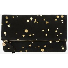 Clare V. Supreme Foldover Clutch: Gold/Black ($235) ❤ liked on Polyvore featuring bags, handbags, clutches, black, fold over clutches, foldover purse, black purse, zipper purse and fold over purse