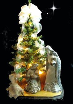 "Nativity Table Top Christmas Tree 18"" Christmas Tree Nativity Set Gift (A)"