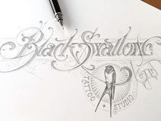 Black Swallow - WIP designed by Martin Schmetzer. Connect with them on Dribbble; Typography Drawing, Calligraphy Drawing, Tattoo Lettering Fonts, Types Of Lettering, Lettering Styles, Graffiti Lettering, Typography Letters, Lettering Design, Graffiti Alphabet