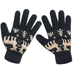 LETHMIK Christmas Thick Knit Gloves Winter Deer Knitted Warm Glove for WomensGirls Black -- Click image to review more details. (This is an affiliate link)