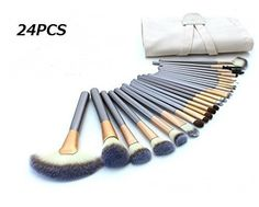 KINGLAKE 24 PCS Professional Makeup Brushes Set Cosmetic Makeup Brush Kit Hot Horse Hair Professional Makeup Kits with Cream-Colored Traverl Case Bag *** Want to know more, click on the image.