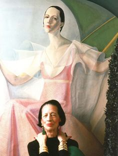 Diana Vreeland in front of her portrait by William Acton
