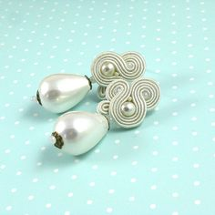 Perlas de Marfil boda pendientes cuelgan pendientes soutache.