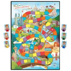 Our Family's Race Across the U.A Personalized Family Board Game - Years - Custom Board Game Board Games For Girls, Family Board Games, Family Boards, Fun Board Games, Games For Kids, Lego Board Game, Jumanji Board Game, Board Game Pieces, Elmo Games