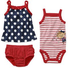 Child of Mine by Carters Newborn Girls 3 Piece Dot Shirt, Bodysuit and Bloomer Set