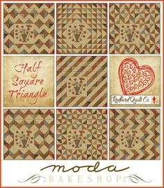 For the Love of Half Square Triangles -- love all the possible designs from a simple HST!!  And the applique pattern's included, too!  :)